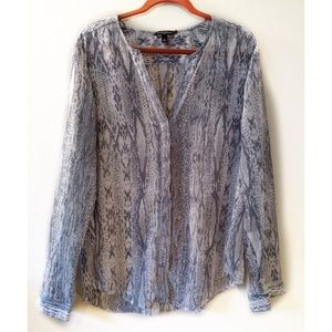 Banana Republic Semi Sheer Snake Print Blouse